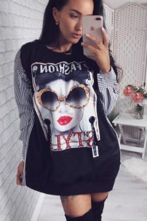 Mini obleka fashion – črna