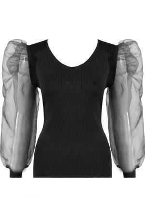 Majica z bogatimi rokavi – črna