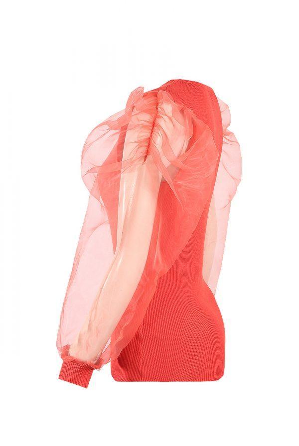 Majica z bogatimi rokavi – koralna