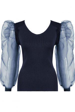 Majica z bogatimi rokavi – modra