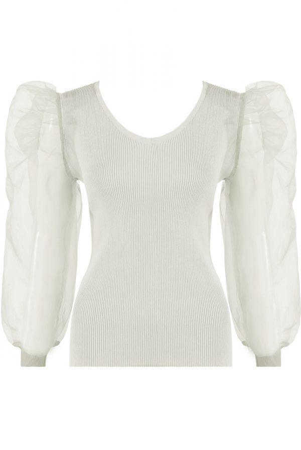 Majica z bogatimi rokavi – bela