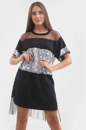 Tunika glitter – črna