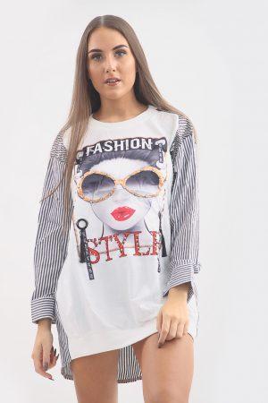 Mini obleka fashion – bela