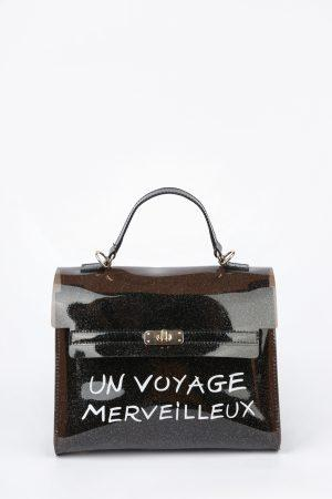 Pvc torbica Voyage – črna glitter