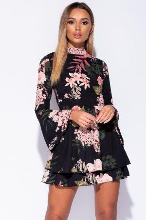 Obleka s cvetličnim potiskom