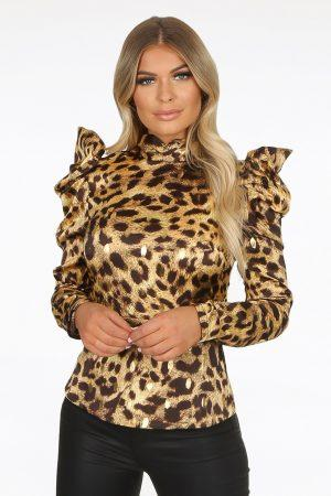 Bluza leopard saten