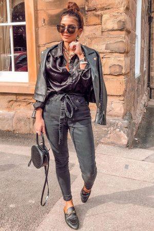 Jeans hlače visok pas – črna