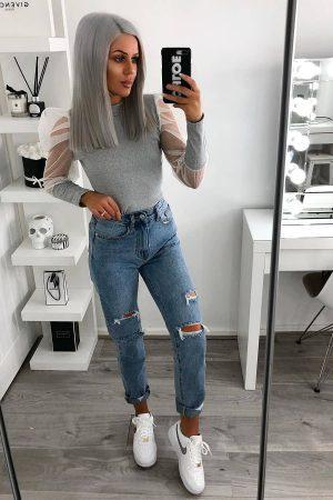 Majica prosojni puf rokavi – siva