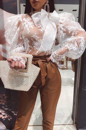 Melody bluza s pentljo – bela