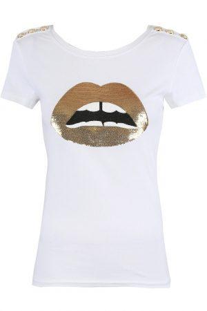 Majica gold lips – bela