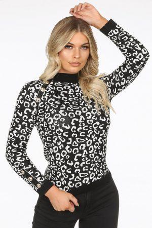 Majica leopard – črna