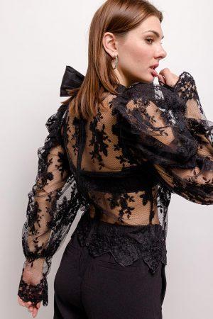 Melody bluza s pentljo – črna