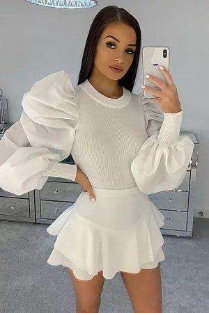 Majica z nabranimi rokavi – bela