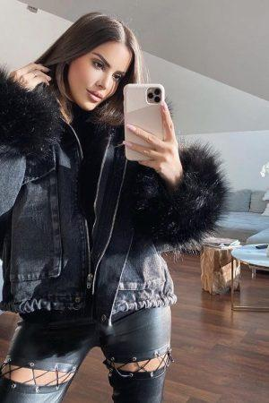 Oversized jeans jakna – črna