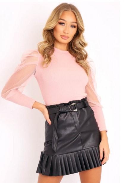 Majica prosojni puf rokavi – roza