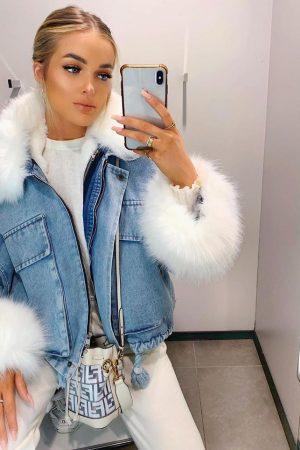 Oversized jeans jakna – modra